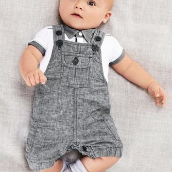 Baby Boy Polo Shirt and Gray Jumper Set