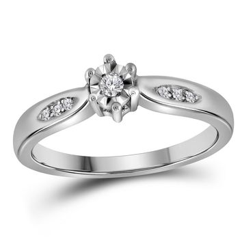 Sterling Silver Womens Round Diamond Solitaire Bridal Wedding Engagement Ring 1/20 Cttw - Size 5