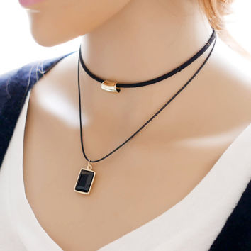 Stylish Korean Ladies Double-layered Simple Design Necklace Style Chain Sponge [7587088839]