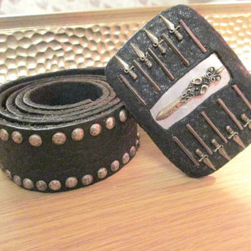 Sterling silver sword studded all over real leather belt buckle full studded leather belt 38 size,gothic belt,punk