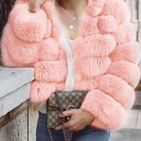 New Pink Faux Fur Hooded Long Sleeve Fashion Coat