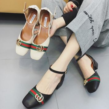 GUCCI Buckle Fashion hot leather low heels women sandals shoes black