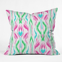 Jacqueline Maldonado Sun Dress Ikat Pink Throw Pillow