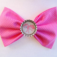 Pinkie Pie / My little pony hair bow / Hair Bow / pink bow / Pinkie / MLP hair bow / Pinkie pie hair clip / fabric bow / girls hair bow