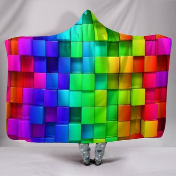Cube Weave Plush Lined Hooded Blanket