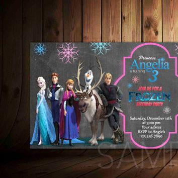 Frozen Chalkboard Invitation Personalized - Birthday Invitation