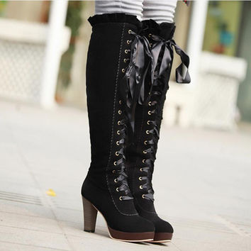 Ribbons Lace Up Platform Knee High Boots High Heels 4140