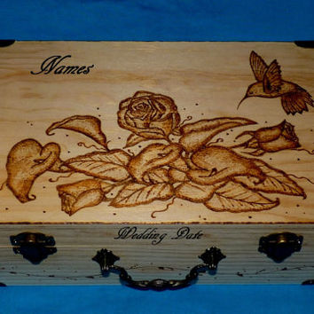Decorative Rustic Wood Wedding Card Box Wood Burned Box Suitcase Wedding Keepsake Guest Book Box Trunk Personalized Hummingbird Roses Gift