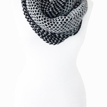 Mesh pattern double layer scarf, knitted infinity scarf, women or man winter warm scarves, man scarf, Black grey Circle Scarf Hooded Scarf