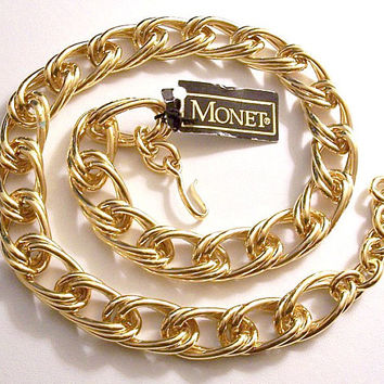 Monet Oval Long Chain Link Necklace Choker Gold Vintage Polished Smooth Double Wavy Layered Open Rings Size Adjustable Hook Ring Clasp