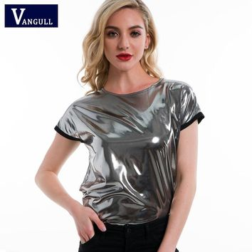 Vangull Women Silver T-shirt Short Sleeve O Neck Regular Fit T-shirts 2018 Ladies  Shiny Party Summer Loose Tee tops for Woman