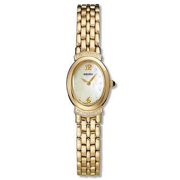 Seiko SUJD48 Women's Gold Tone Bracelet Mother of Pearl Dial Diamond Watch