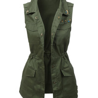 LE3NO Womens Miltary Anorak Sleeveless Jacket Vest with Pockets