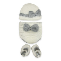 So'Dorable Grey Bow 3-Piece Crochet Set in Ivory