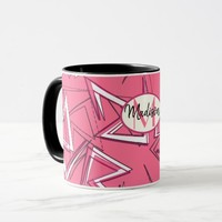 White and Black Zigzags on Pink Mug