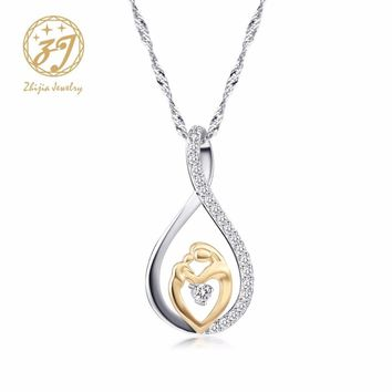 Zhijia Mother Baby Charm Pendant Necklaces Mom Daughter Son Family Love Micro Pave Zircon Copper Necklace For Birthday