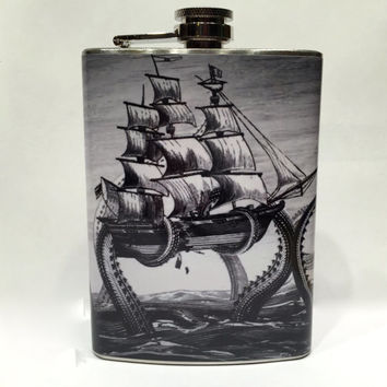 Kraken Vintage Print Stainless Steel 8oz Hip Flask Nautical Pirate Ship Octopus