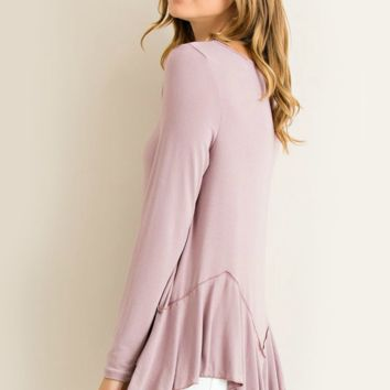 Fleeting Moment Angled Peplum Ruffle Top