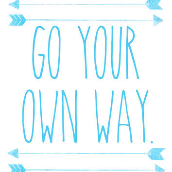 Go Your Own Way, Watercolor, Illustration Print, Nursery, Home Decor