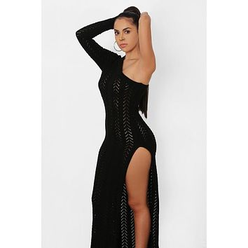 The High Shoulder Crochet Aysmmetrical Maxi Dress