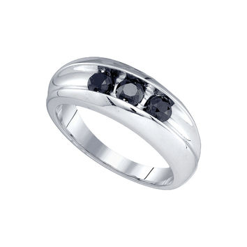 10kt White Gold Mens Round Black Colored Diamond Band Wedding Anniversary Ring 7/8 Cttw 81819