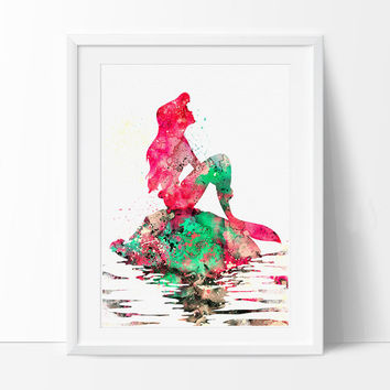 Ariel Watercolor Print, Disney Art, Watercolor Art, Nursery Room Poster, Ariel Print Watercolor Painting, Disney Print - 72