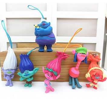 2016 Hot Sale 6pcs/set Trolls Action Figure Cartoon Movie Magic Long Hair Dolls Toys Kids Children