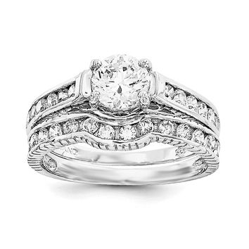 Sterling Silver 2-Piece CZ Promise Wedding Ring Set Set