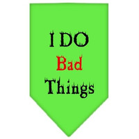 I Do Bad Things  Screen Print Bandana Lime Green Small