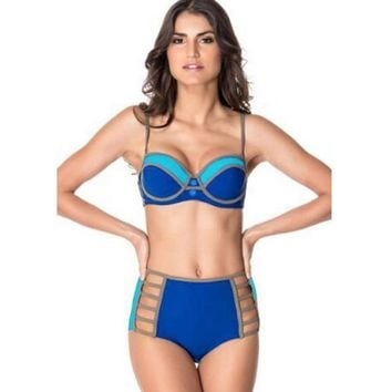 Royal blue high-waisted bikini swimsuit with breast pad strip fission swimsuit