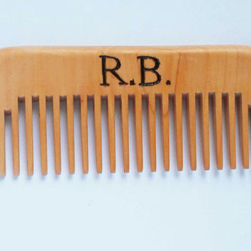 Personalized Beard Comb, Engraved Monogrammed comb, wood comb, pocket comb, wooden comb, pyrography, Dad Gift, fathers day gift