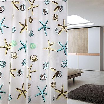 High Quality PEVA Shower Cutrain Sea Shell Starfish PEVA Bathroom Waterproof Mildew Proof Shower Curtain BS