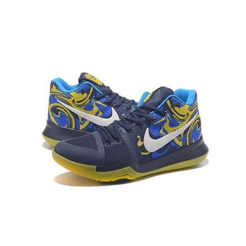 Best Deal Online Nike Kyrie Irving 3 PE Men Basketball Sneaker Navy Royal Blue Yellow White Sports Shoes