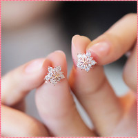 Full Rhinestone Shine Korean Style Stud Earrings For Women Girls Ladies Gold Silver Plated Sweet Star Earring Jewelry #ER022
