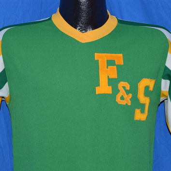 70s F & S Striped Green Yellow White Jersey t-shirt Small