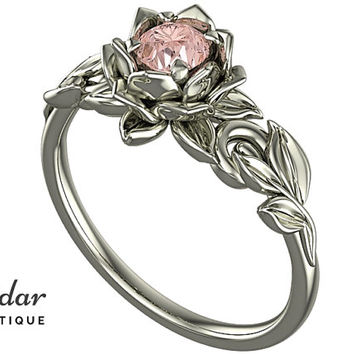 Morganite Engagement Ring,Unique Engagement Ring,Flower Engagement Ring,Lotus Engagement Ring,Floral Engagement Ring,Leaves Engagement Ring