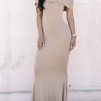 Khaki Peplum Draped Boat Neck Off-shoulder Prom Mermaid New Year Party Maxi Dress