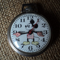 Mickey Mouse Watch Disney1960s Pocket Watch Collectible by Bradley
