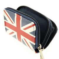 Ladies Union Jack Wallet Purse and Credit Card & Key Holder With Double Zip Closure - Great Gift Idea For Her