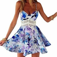 Women's Strap Chinese Porcelain Print Short Dress