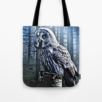 OWL IN THE FOREST Tote Bag by Digital Effects