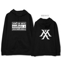 Monsta x concert same all member name printing fleece hoodie for kpop fans supportive pullover sweatshirt