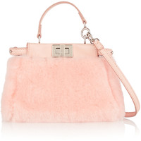 Fendi - Peekaboo micro leather-trimmed shearling shoulder bag