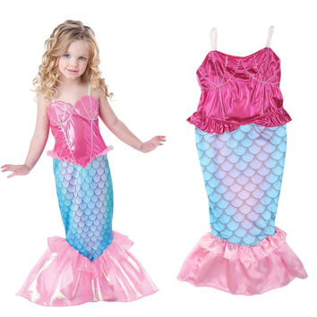 New Party Girls Mermaid Princess Costume Dress Onesuit Children Kids Girls Cosplay Dresses One Piece Christmas Costumes 4-12Y