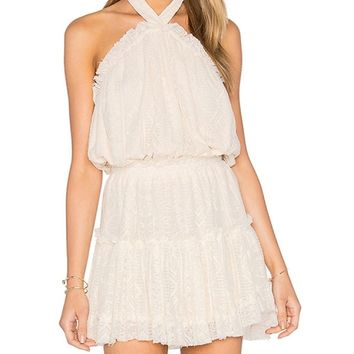 White Halter Ruffle Trim Mini Lace Dress