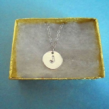Beautiful J, L, K Coin Initial, Silver plated, Necklace