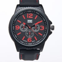 Red Numerals Black Band Watch