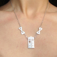 Doctor Who TARDIS with Bow Tie - Handmade Silver Necklace - Doctor Who Fans