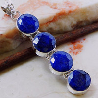 SALE Four eye catching faceted raw sapphires hand set in sterling silver Estate Jewelry