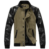 FashionMan Woolen & PU Leather Splicing Stand Collar Color Blocking Single Breasted Men Jackets - DinoDirect.com